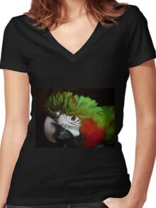 Jubilee macaw portrait Women's Fitted V-Neck T-Shirt
