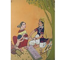 Bangles sale man and Village woman Photographic Print