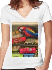 Bar Joke Parrot in the Freezer Women's Fitted V-Neck T-Shirt