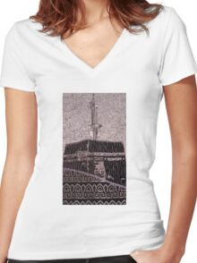 Kaaba/Masjid-Al-Haram Women's Fitted V-Neck T-Shirt