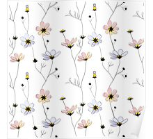 Delicate flowers on white Poster