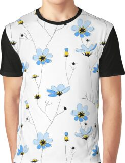 Blue flowers on white background Graphic T-Shirt