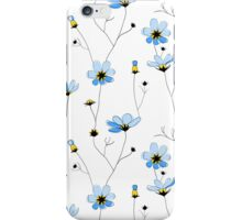 Blue flowers on white background iPhone Case/Skin