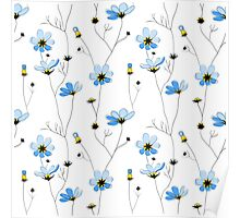 Blue flowers on white background Poster
