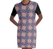 Multi-colored Snowflakes Graphic T-Shirt Dress