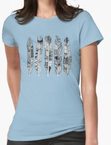 geo feathers black white Womens Fitted T-Shirt