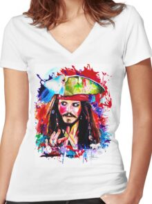 """""""Captain Jack Sparrow"""" Women's Fitted V-Neck T-Shirt"""