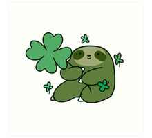 Shamrock Sloth Art Print