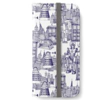 walking doodle toile de jouy blue iPhone Wallet/Case/Skin