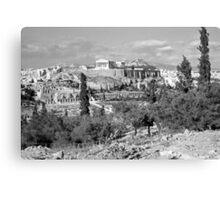 Athenian Acropolis from Philopappou Hill, 1960, B&W Canvas Print