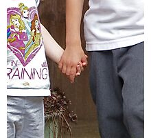 Rhys and Freya holding hands Photographic Print