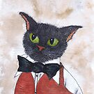 CAT IN BOW TIE by Hares & Critters