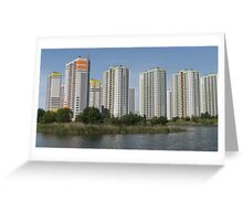 apartment buildings over the water Greeting Card