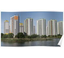 apartment buildings over the water Poster