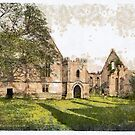 A digital painting of Wingfield Manor, Derbyshire, England by Dennis Melling