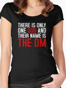THE DM IS GOD (Dungeons & Dragons) (White) Women's Fitted Scoop T-Shirt