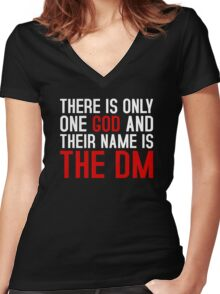 THE DM IS GOD (Dungeons & Dragons) (White) Women's Fitted V-Neck T-Shirt