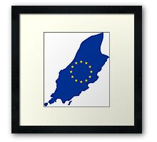 European Union Flag Map of Isle of Man Framed Print