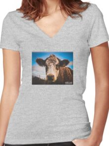 Purple Cow  Women's Fitted V-Neck T-Shirt