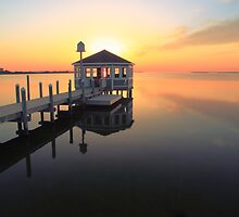 Gazebo on the dock at sunset, Pamilco Sound NC by Roupen  Baker
