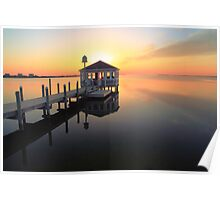 Gazebo on the dock at sunset, Pamilco Sound NC Poster