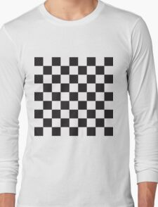 Checkerboard Black and White Blocks Long Sleeve T-Shirt