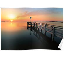 Dock and Sunset on Pamilico Sound, North Carolina Poster
