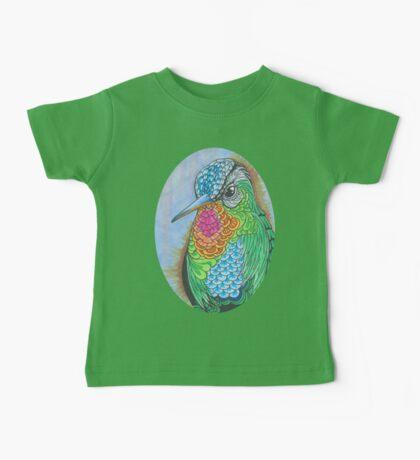 Rainbow Hummingbird Pen and Ink Illustration Baby Tee