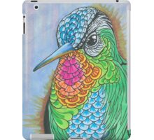 Rainbow Hummingbird Pen and Ink Illustration iPad Case/Skin