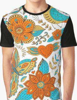 Retro Vintage Floral Doodle Graphic T-Shirt