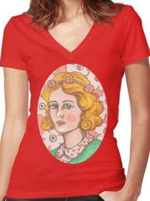 """Priscilla"" Retro Portrait Illustration Women's Fitted V-Neck T-Shirt"