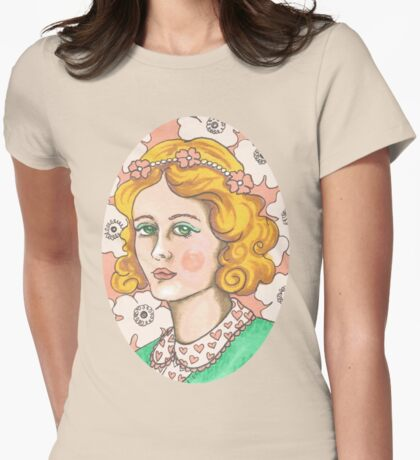 """Priscilla"" Retro Portrait Illustration Womens Fitted T-Shirt"