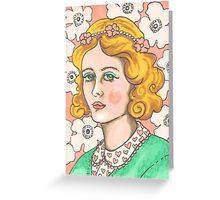 """Priscilla"" Retro Portrait Illustration Greeting Card"