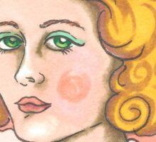 """""""Priscilla"""" Retro Portrait Illustration Sticker"""