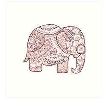 Pink Mandala Elephant Art Print