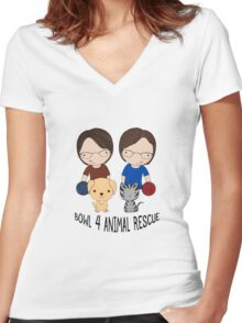2016 Exclusive Bowl-4-Animal Rescue Design Women's Fitted V-Neck T-Shirt