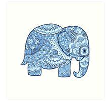 Blue Mandala Elephant Art Print