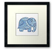 Blue Mandala Elephant Framed Print