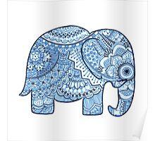 Blue Mandala Elephant Poster