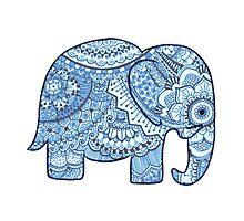 Blue Mandala Elephant Photographic Print