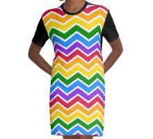 Rainbow Chevron Graphic T-Shirt Dress