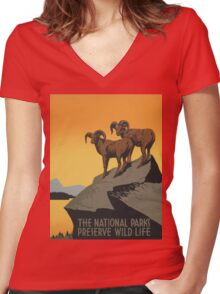 The National Parks Preserve Wild Life Vintage Travel Poster Women's Fitted V-Neck T-Shirt