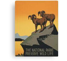 The National Parks Preserve Wild Life Vintage Travel Poster Canvas Print