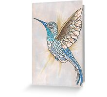 Hummingbird In Golds and Blues Pen and Ink Illustration Greeting Card