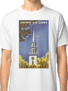United Air Lines New England Vintage Travel Poster Classic T-Shirt