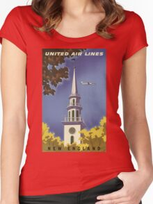United Air Lines New England Vintage Travel Poster Women's Fitted Scoop T-Shirt