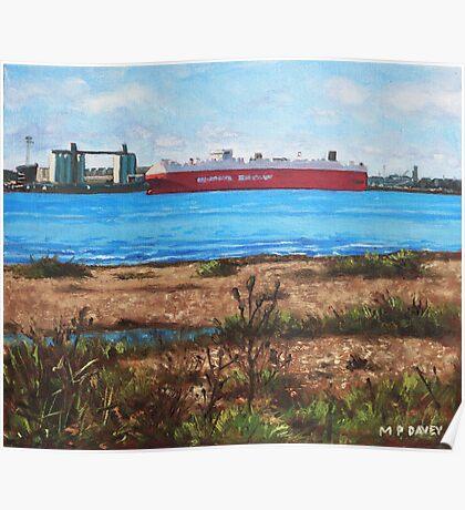 Southampton cargo ship as seen at Weston Shore Poster