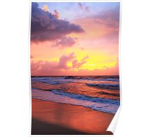 Sunrise clouds over Atlantic Ocean Surf and the Beach Poster