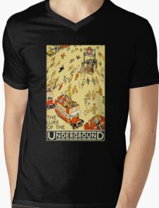 Lure of the Underground - Vintage London Poster Mens V-Neck T-Shirt