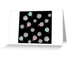 Black White and Pastel Floral Greeting Card